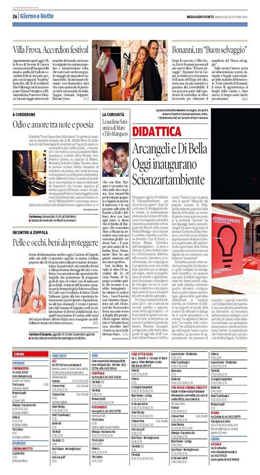 Arcangeli e Di Bella oggi inaugurano Scienzartambiente - Messaggero Veneto 28.10.15