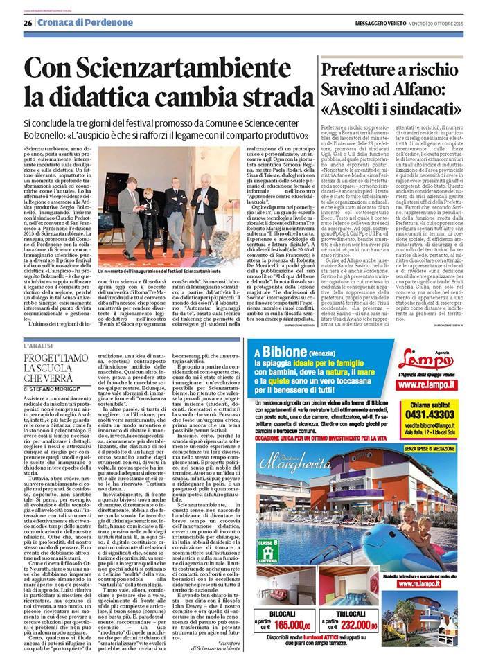 Con Scienzartambiente la didattica cambia strada - Messaggero Veneto 30.10.15