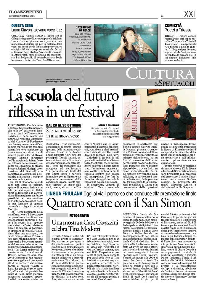 La scuola del futuro riflessa in un festival - Il Gazzettino 21.10.15