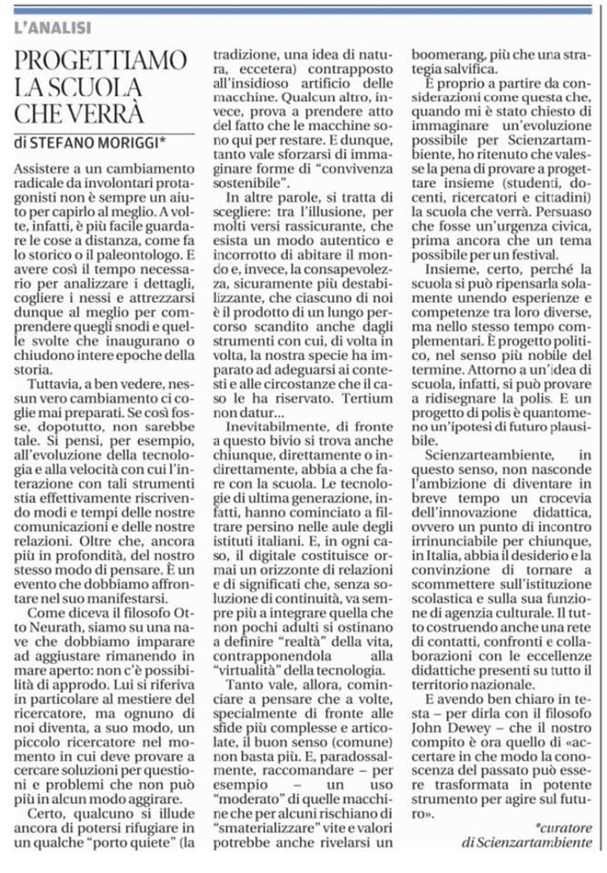 Progettiamo la scuola che verrà - Messaggero Veneto 30.10.15