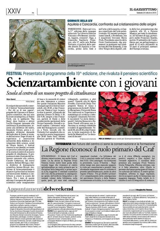 Scienzartambiente con i giovani - Il Gazzettino 24.10.15