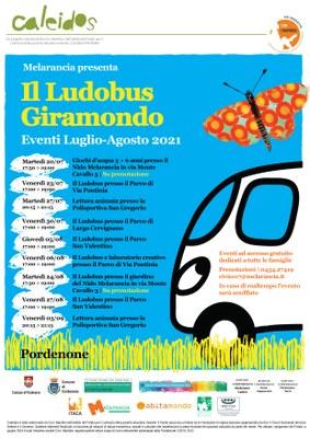 La cooperativa Melarancia e il suo Ludobus viaggiano tra i quartieri di Pordenone per proporre momenti di gioco e divertimento per bambini, bambine e famiglie; nell'ambito del progetto Caleidos #estateapordenone
