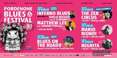 30ª edizione. Dal 20 al 24 luglio 2021 in centro città. Un invito a fare uscire il blues che è in voi. #estateapordenone