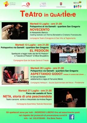 La rassegna estiva a cura di Etabeta Teatro e ASD San Gregorio #estateapordenone