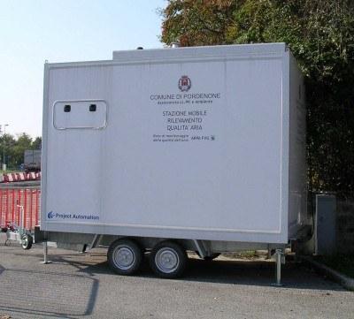 la centralina mobile di rilevamento del Comune di Pordenone