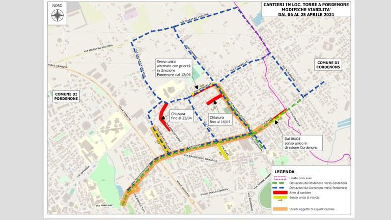 A partire dal 2 aprile via Fonda diventa interamente a senso unico. Continuano i cantieri: la mappa dei lavori dal 6 al 25 aprile.