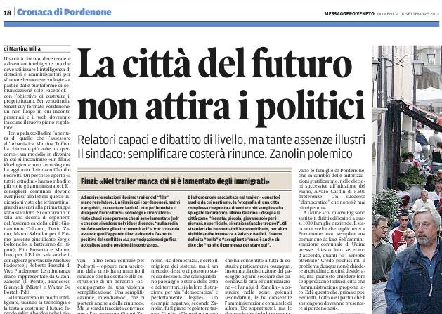Messaggero Veneto del 16 settembre 2012, pagina 18