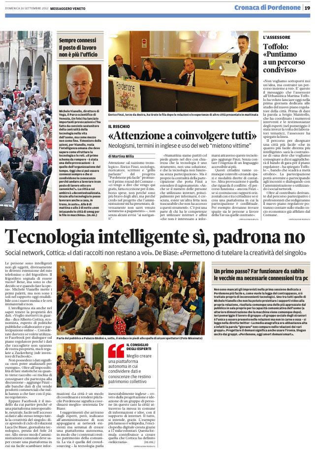 Messaggero Veneto del 16 settembre 2012, pagina 19