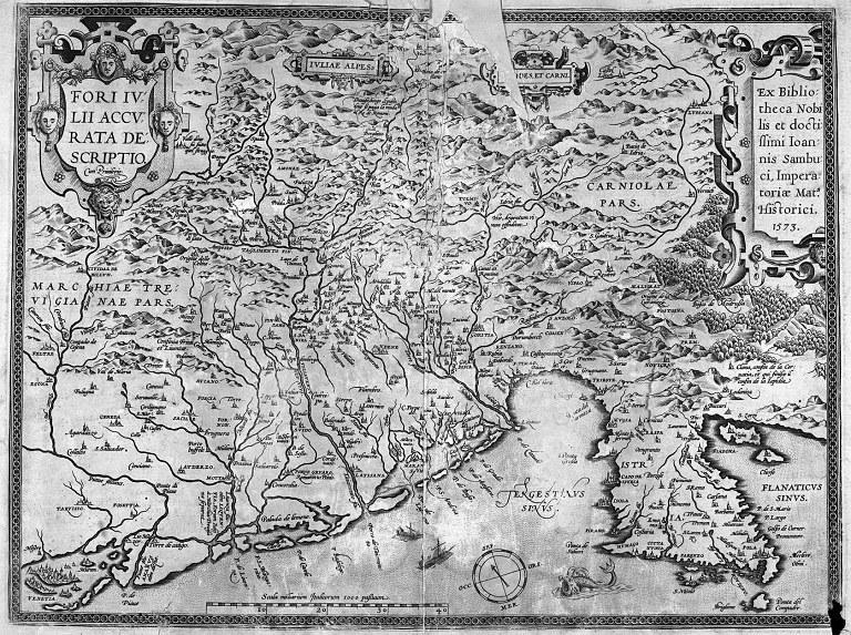 Carta del Friuli di Abraham Hortelius, cartografo fiammingo. 1573