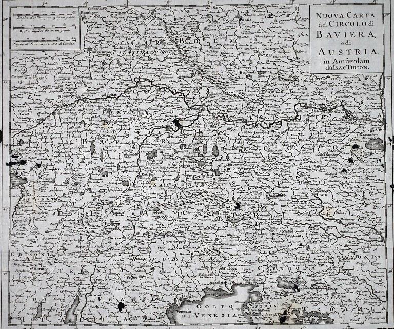 L'Austria-Baviera del fiammingo Isaac Tirion. 1750 circa