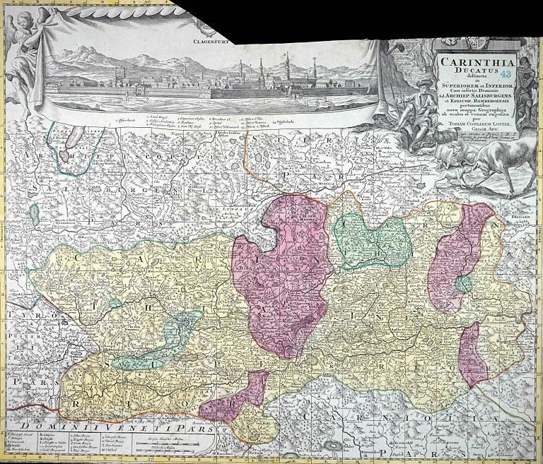 La Carinzia di Mathias Albrecht Lotter, cartografo ed incisore di Augusta. 1750 circa