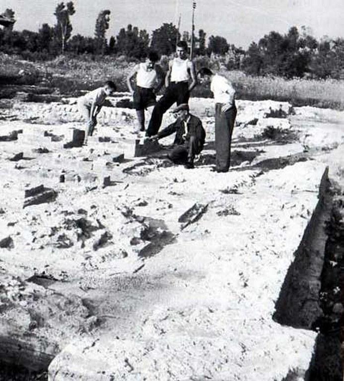 La villa romana di Torre durante gli scavi del conte Giuseppe di Ragogna